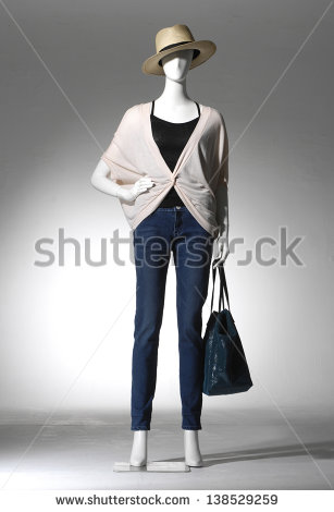 stock-photo-full-length-fashion-clothes-in-hat-with-bag-on-a-mannequin-in-light-background-138529259